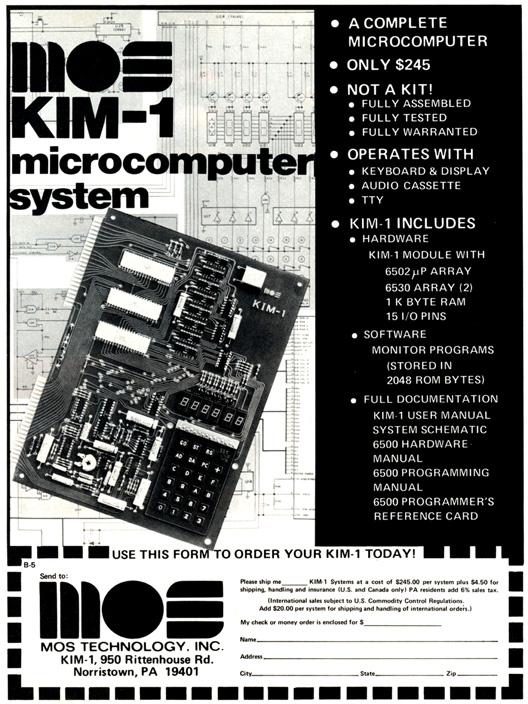 KIM-1 microcomputer advertisement, BYTE magazine May 1976