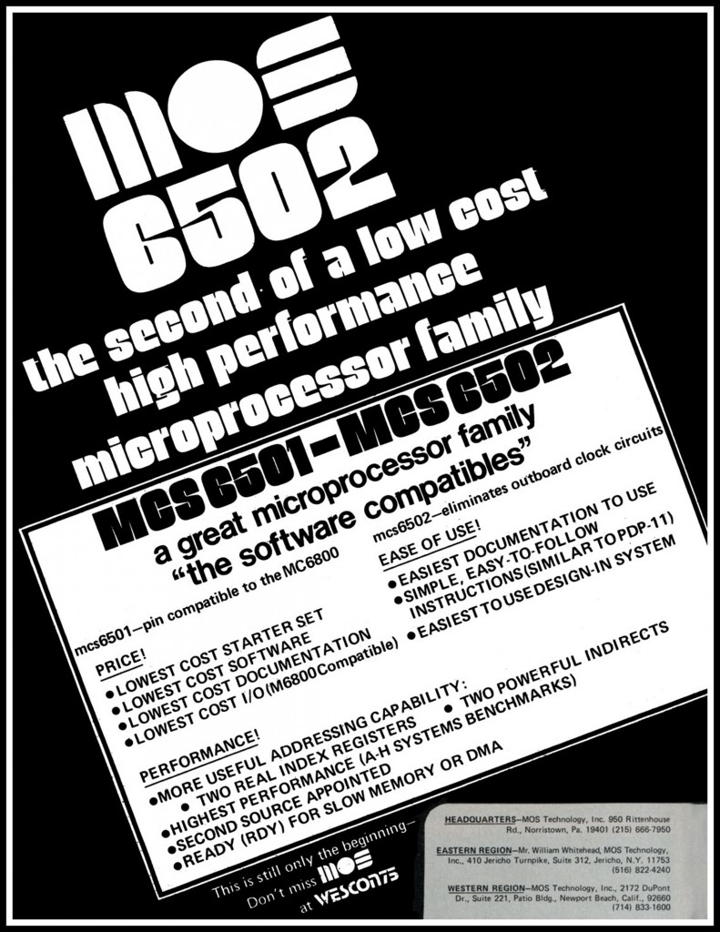 MOS 6502 Advertisement from September 1975 IEEE Computer